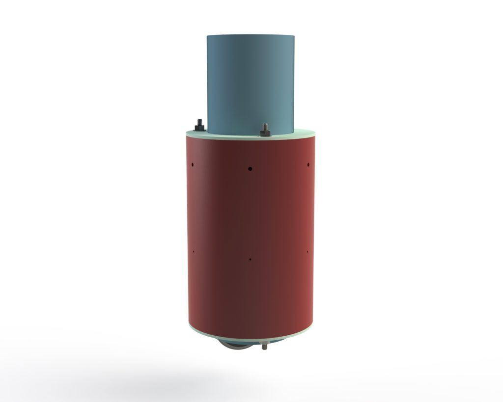 Rendering of the inner components of the nosecone, showing the coupler section and drogue parachute tube.